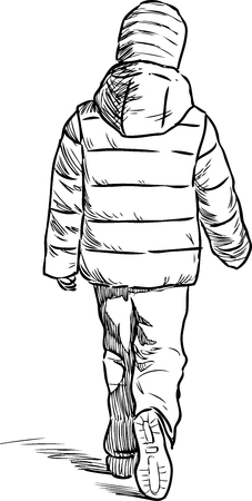 little one: Sketch of a striding little boy