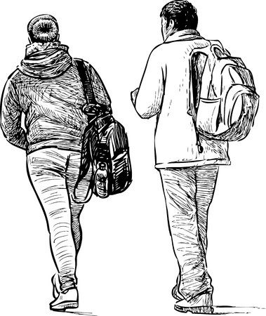 striding: Sketch of the couple people traveling