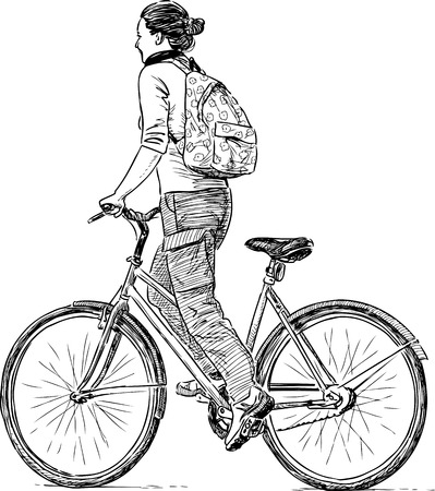A girl rides a bicycle