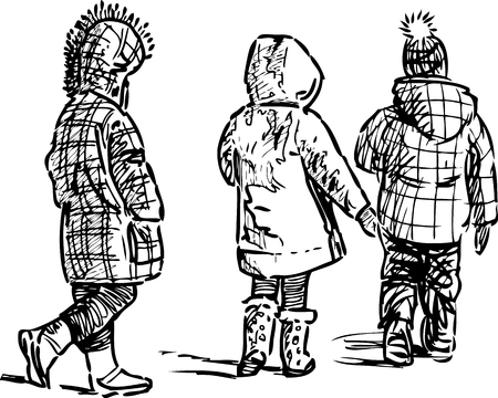 striding: Sketch of the walking kids Illustration