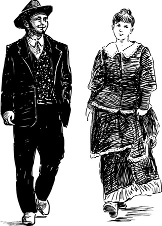 A couple in the vintage costumes