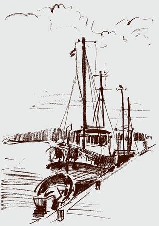 Vector illustration of the ships at a berth