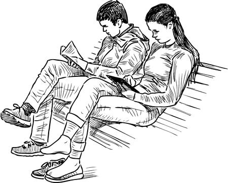 公園のベンチで勉強している学生  イラスト・ベクター素材