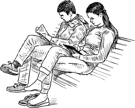 Student Life: The students are studying on the park bench Illustration
