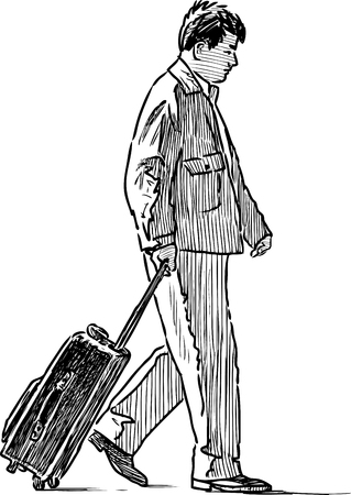 striding: A casual person with a suitcase