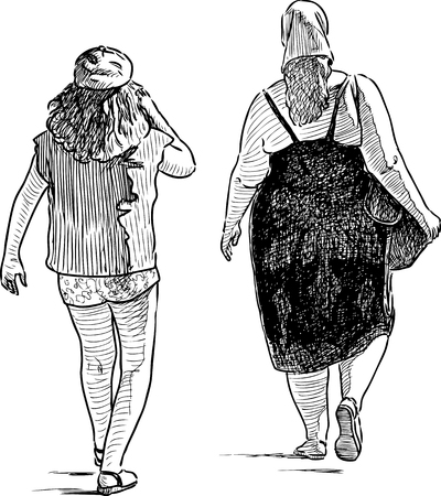 striding: A mother and her daughter go to the beach