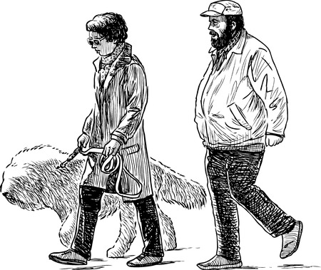 A couple of the townspeople with their dog on a walk