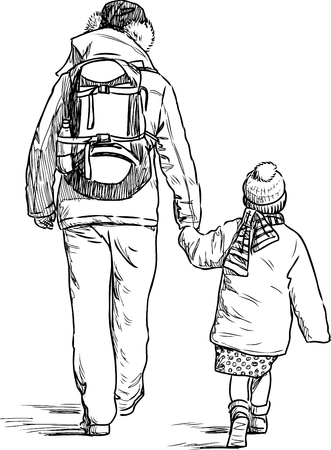 Sketch of a father with a his daughter Vectores