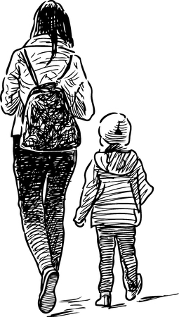 striding: Sketch of an old mother with a her kid Illustration
