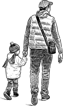striding: A townsman with his kid on a walk Illustration