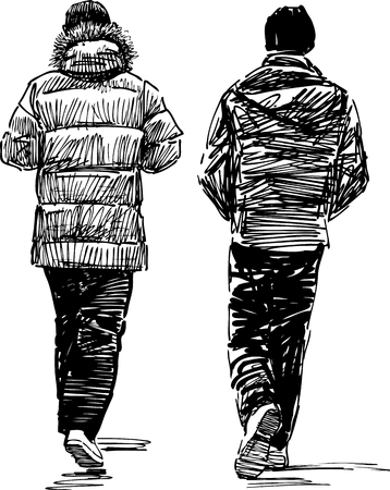 backview: Sketch of the casual city pedestrians