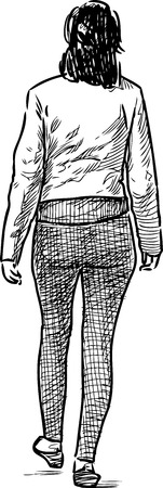 striding: Sketch of a casual woman