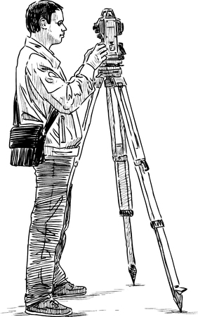 Sketch of a topographer with a theodolite