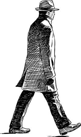 Sketch of a pedestrian in a hat