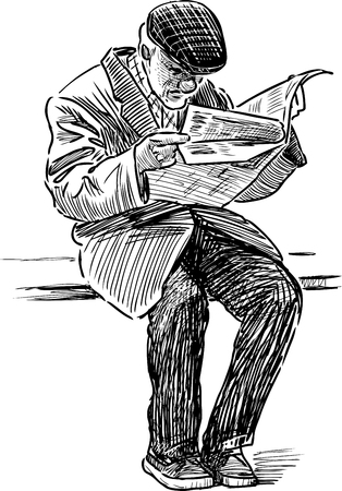 bench alone: An old man reads a newspaper on the park bench.