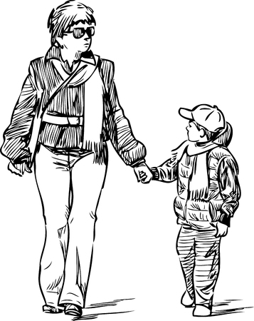 A mother with her son on a walk