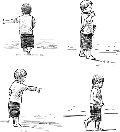 Bocetos de un niño en la orilla del mar Foto de archivo - 82796112