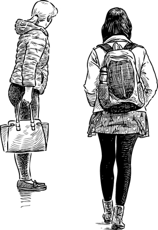 Student Life: Sketch of the casual girls on the city street
