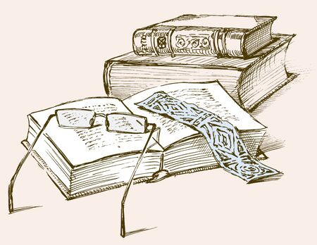 Vector illustration of the books for reading