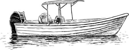 Sketch of a pleasure motorboat Illustration