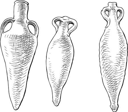earthenware: Sketch of the ancient Greek amphoras Illustration