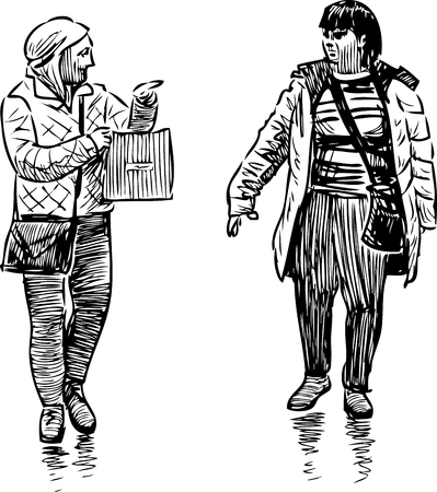 sketch of the casual women pedestrians