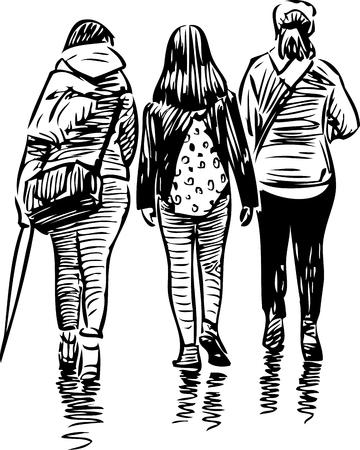 Sketch of the walking teens girls Ilustração