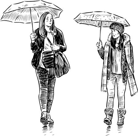 The girls walk in the rain. Illustration