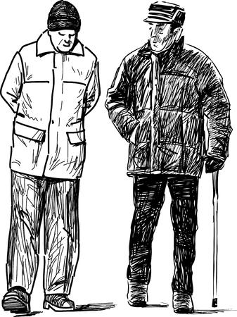 The seniors men on a walk