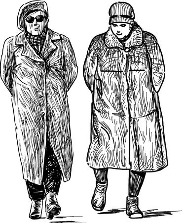 Sketch of the seniors women on a stroll 일러스트