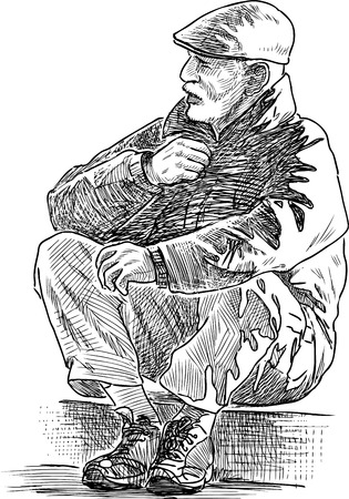 Sketch of an elderly man sitting on a pavement.