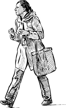 Sketch of a woman walking in the street. Illustration