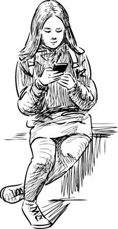croquis d & # 39 ; une fille avec son bandeau Vecteurs