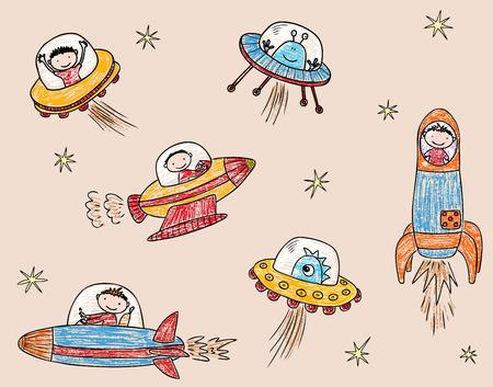 Space man and aliens met in space.