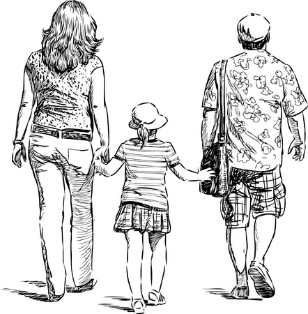 Parents with their child go for walk Vectores