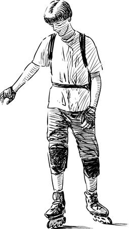 Teenage boy riding on roller skates. Illustration