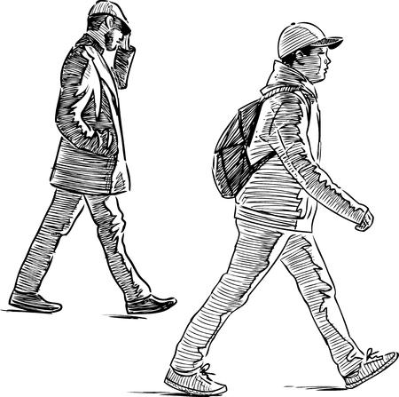 Sketch of the casual urban pedestrians
