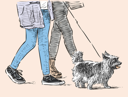 Citizens with a pet go for a walk