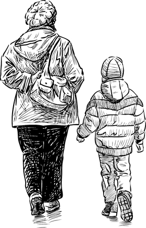 Grandmother and grandson go for a walk