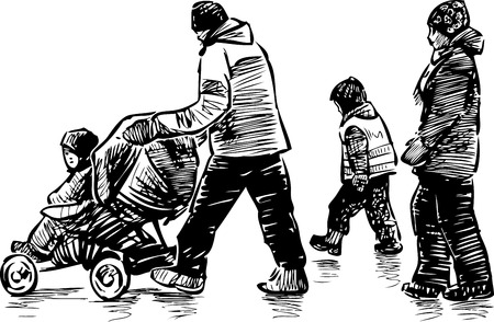 Sketch of a strolling family