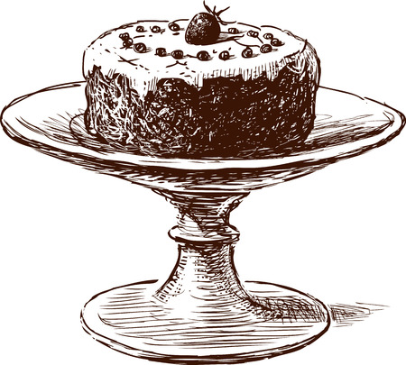 Biscuit cake on a dish Illustration