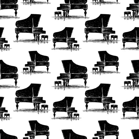 Black and white pattern of a grand piano whith a stool Illustration