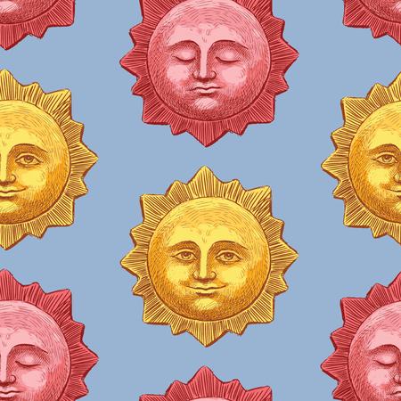 笑顔と眠る太陽のシームレスな背景