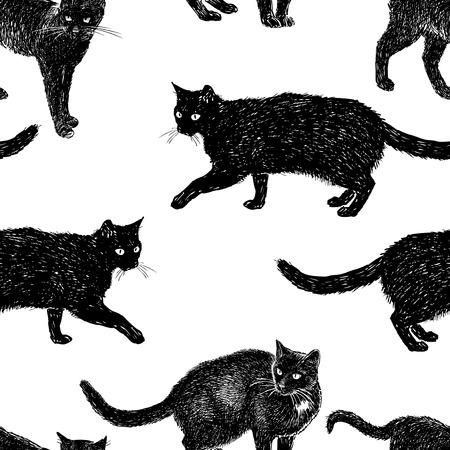 Pattern of drawn black cats.