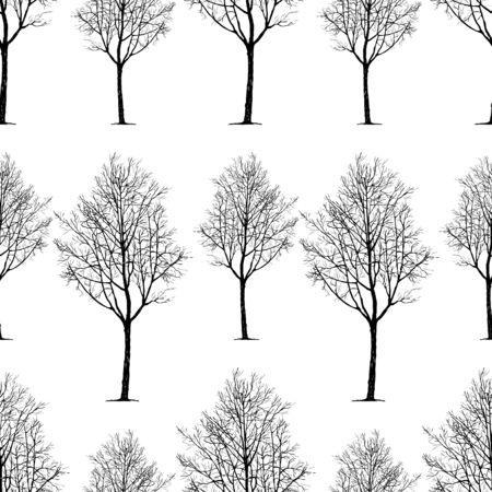 A pattern of young deciduous trees isolated on plain background. Illusztráció