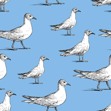 Pattern of the walking seagulls Vector illustration. Çizim