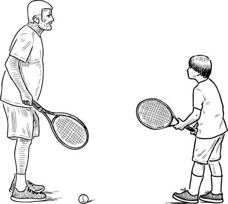 An elderly man playing tennis with his grandson Stock fotó - 99395314