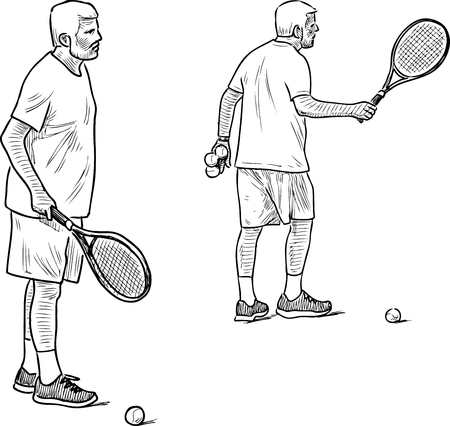 Sketch of an elderly man playing tennis Illusztráció