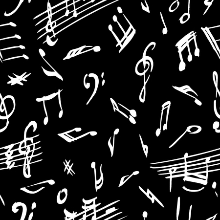 Seamless background of the musical notes Çizim