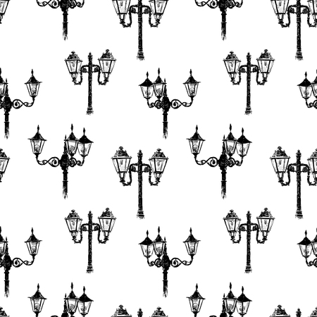 Seamless pattern of the vintage street lights